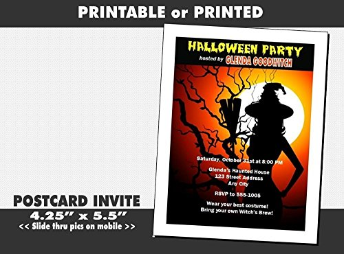 Witch Tree Halloween Party Invitation, Printable or Printed Option -