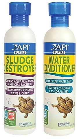 API Turtle Sludge Destroyer and Water Conditioner Bundle (8 Ounce Set) - Api Tap Water Conditioner