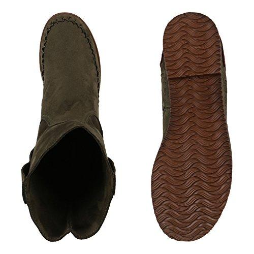 Stiefelparadies Damen Schlupfstiefel Ethno Fransen Kurzschaft-Stiefel Stiefeletten Nieten Schnallen Wildleder-Optik Schuhe Flandell Dunkelgrün Ethno