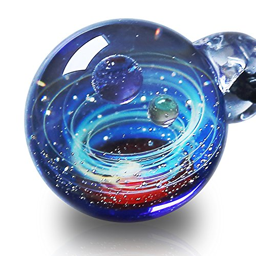 Pavaruni Original Galaxy Pendant Necklace, Universe Glass Accessories, Space Cosmos Design,Birthday -