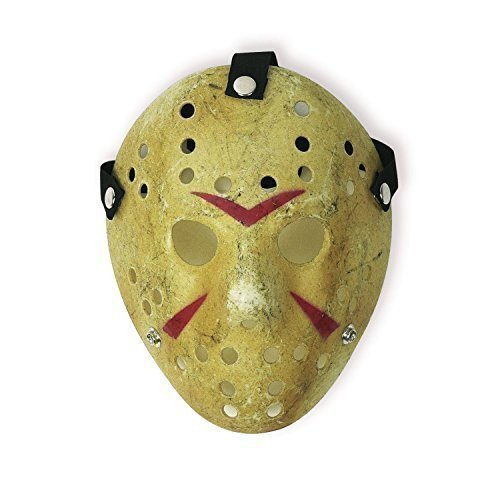 Friday The 13th Jason Hockey Mask (Costume Mask Prop Horror Hockey Halloween Myers (Adult (One Size), Yellow))