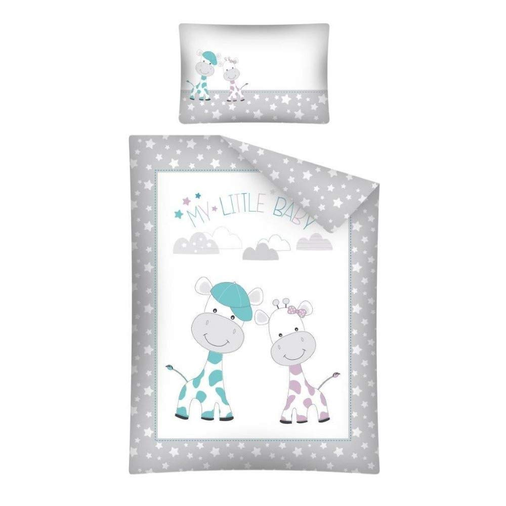 Blau 100x135 cm 40x60 cm Baby Bettw/äsche Set mit Wende Motiv: Giraffen Babies 1 Spannbettlaken in wei/ß 70x140 cm Arle-Living 3 TLG