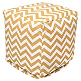 Majestic Home Goods Yellow Chevron Indoor/Outdoor Bean Bag Ottoman Pouf Cube 17'' L x 17'' W x 17'' H
