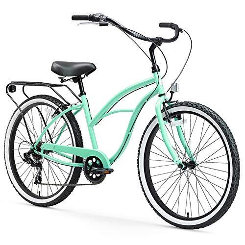 sixthreezero Around The Block Women's 7-Speed Beach Cruiser Bicycle, 24' Wheels, Mint Green with Black Seat and Grips