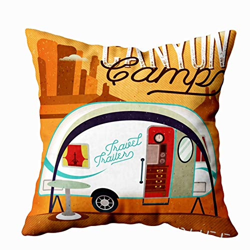 EMMTEEY Baby Girl Throw Pillows, 16x16 Inch Pillow Covers Home Throw Pillow Covers for Sofa Vintage Travel Poster with Travel Trailer on Canyon Vector Illustration Square Double Sided Printing