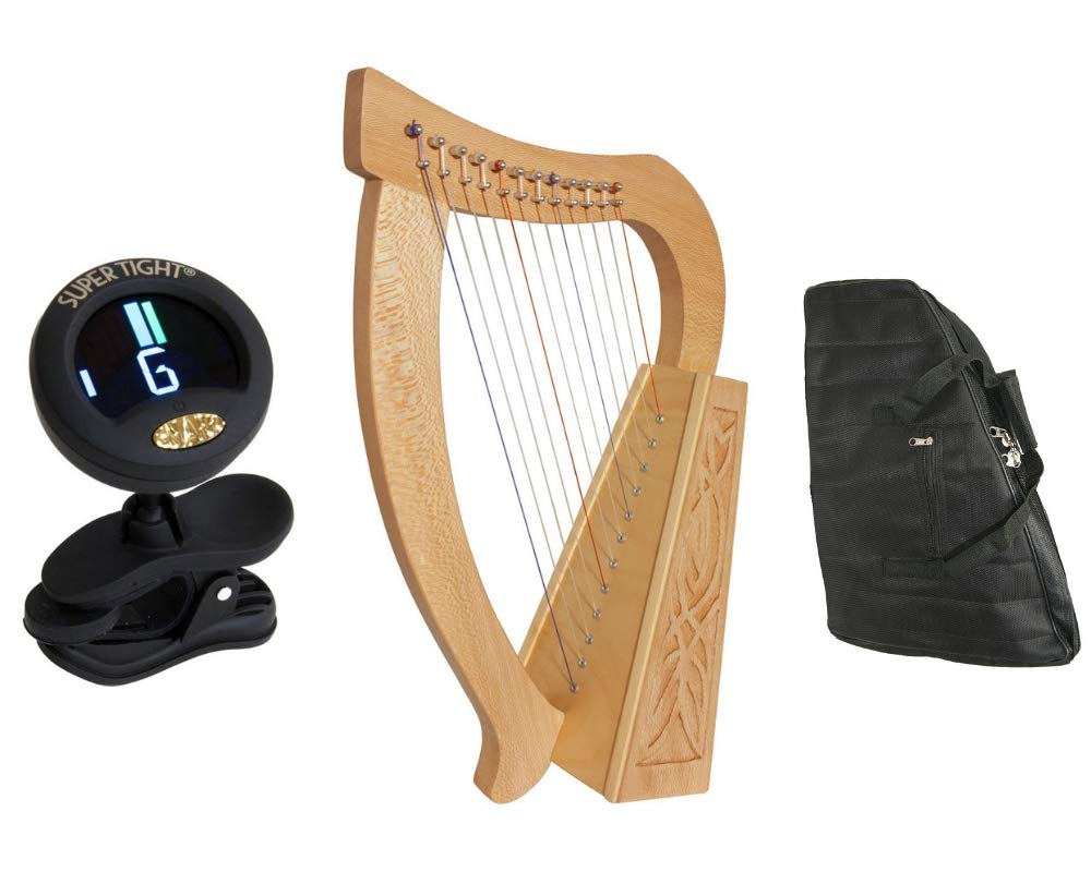 Baby Celtic Harp Package Includes: Roosebeck Baby Celtic Harp 12-string w/Knotwork Design, Walnut Wood +Nylon Carry Bag & Clip-on Chromatic Tuner for Harps