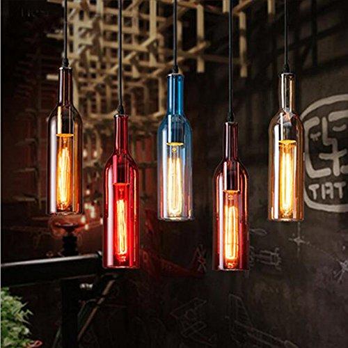 NEW Modern Pendant Light Color Glass Wine Bottle DIY Design Handing Ceiling Lamp Brown