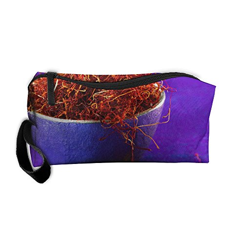 (YangQxio Purple Bowl Saffron Portable Cosmetic Makeup Bag Waterproof Makeup Cosmetic Brush Organizer Zipper Organizer Travel Set Tote Bag )