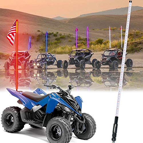 AddSafety 6FT Red LED Whips Light UTV Whips LED Antenna Light For Off- Road Vehicle ATV UTV RZR Jeep Trucks Dunes