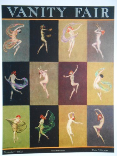 Nymphs in Warm Weather Attire Dance, Swirl Colorful Scarves, Play Musical Instruments, Nibble Grapes - Warren Davis - November 1921 - Condé Nast - Vanity Fair Cover Postcard Print