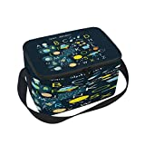 Use4 Space Solar System Alphabet ABC Insulated Lunch Bag Tote Bag Cooler Lunchbox for Picnic School Women Men Kids