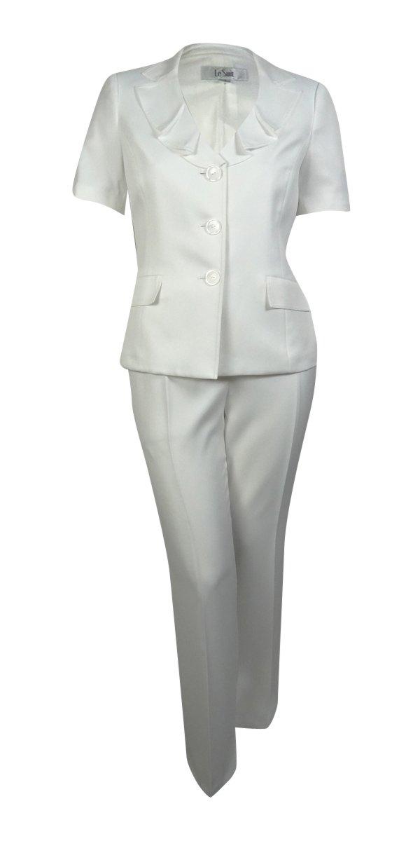 Le Suit Women's Palm Beach Ruffled Lapel Pant Suit (16, Vanilla Ice)