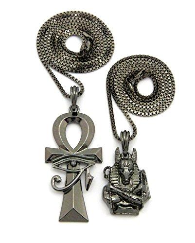 (Fashion 21 Polished Egyptian Anubis, Ankh Pendant 24