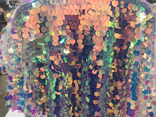 (Fantastic Hologram big dot sequin mesh fabric 54