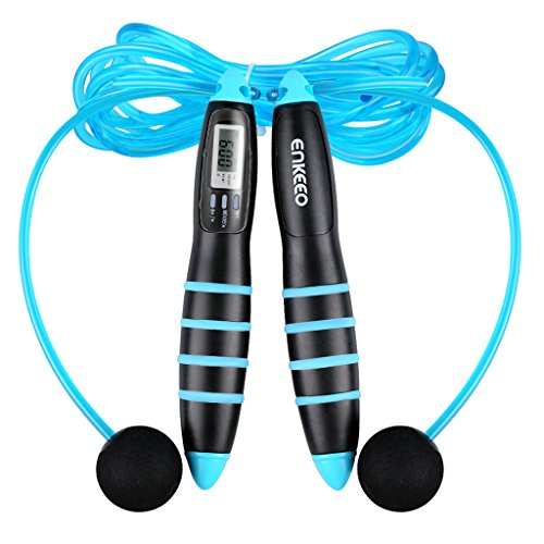 Enkeeo-Calorie-Counter-Jump-Rope-with-10FT-Cord-2-Balls-with-Short-Strings-Digital-LCD-Screen-Anti-slip-Handle-Good-for-Double-Unders-Exercise-Crossfit-WOD-Boxing-MMA-Training-Fitness-Workout