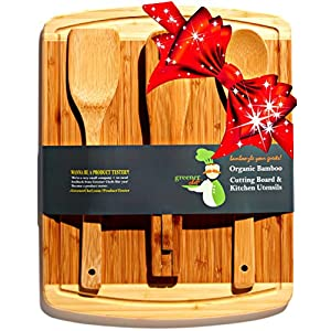 greener chef bamboo cutting board housewarming christmas holiday gift set with bonus 3 piece kitchen cooking utensils wooden spoon
