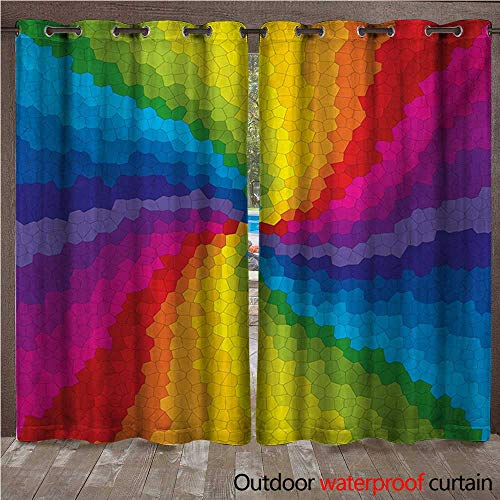 ul Outdoor Ultraviolet Protective Curtains Stained Glass Design in Rainbow Colors Burst Effect Abstract Mosaic Swirls Artwork W72 x L108(183cm x 274cm) ()