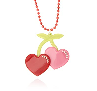 128f0357cb9a0c Anna Lou of London Acrylic Red and Pink Cherry Heart Necklace:  Amazon.co.uk: Jewellery