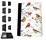 """1801 - Beautiful Shabby Chic Colourful Birds Nature Wildlife Design Amazon kindle Fire HD 8, 8"""" Fashion Trend TPU Leather Flip Case Protective Purse Pouch Book Style Defender Stand Cover"""