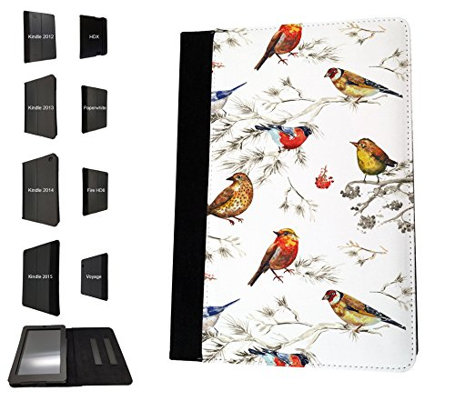 1801 - Beautiful Shabby Chic Colourful Birds Nature Wildlife Design Amazon kindle Fire HD 8, 8