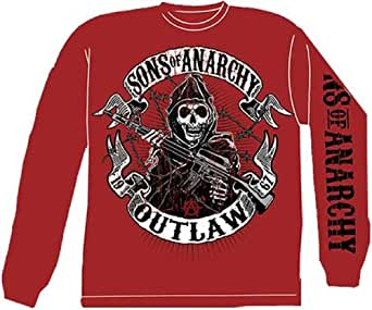 Outlaw - Sons Of Anarchy Long Sleeve T-shirt, Red, Adult Medium