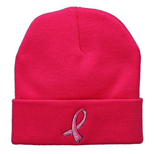 E4hats Wool Cap (Hot Pink Breast Cancer Logo Embroidered Long Beanie - Hot Pink OSFM)