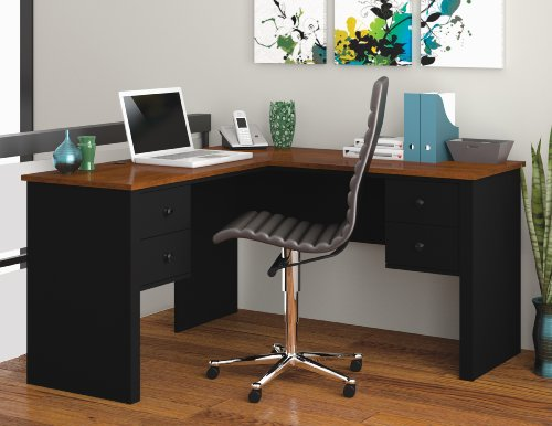 Bestar Somerville L-Shaped Desk, Black and Tuscany Brown - Bestar Office Space Corner