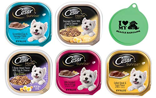 Cesar Wet Dog Food Breakfast Bundle - 5 Flavor Variety Pack, 3.5 Oz Each - Pack of 10, Plus Can Cover (11 Items Total) ()