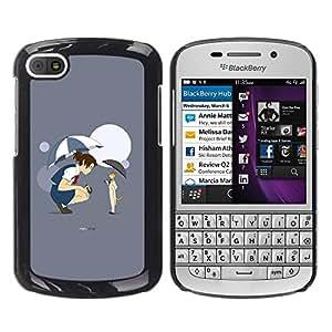 TopCaseStore / la caja del caucho duro de la cubierta de protección de la piel - Funy Cat & Girl - BlackBerry Q10