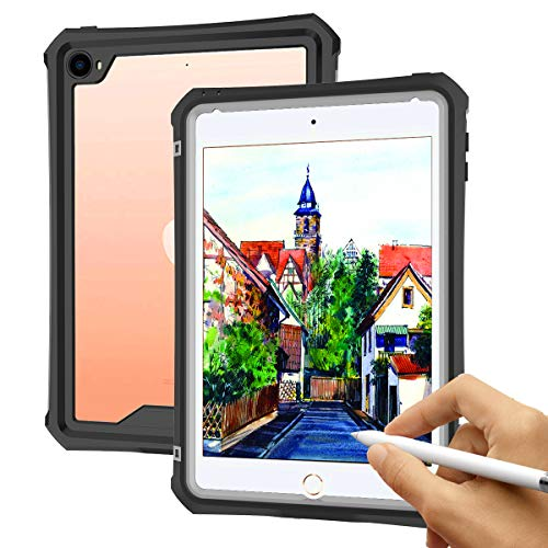 Willbox Waterproof Case for iPad Mini 5/4(7.9 Inch), IP68 Certified Full Body Protective with Adjustable Tablet Stand Shockproof Dustproof Outdoor Sports Clear Cover for iPad Mini 4/5(Black)