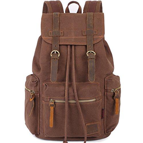 - KAUKKO Vintage Casual Canvas and Leather Rucksack Backpack, 1Coffee