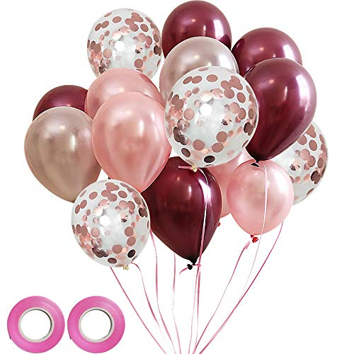 FUNPRT Burgundy Silver Rose Gold Latex Balloon and Rose Gold Confetti Balloons,50 Count,12 inch