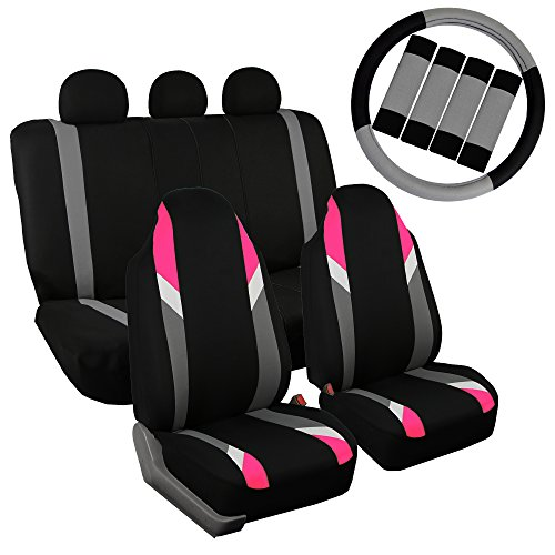 - FH GROUP FB133115 Full Set Premium Modernistic Seat Covers Pink / Black W. FH2033 Steering Wheel Cover & Seat Belt Pads - Fit Most Car, Truck, Suv, or Van