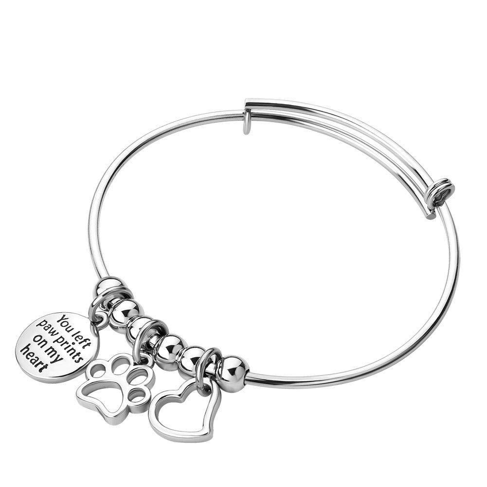 Moonlight Collections Stainless Steel Heart Charm Dog Paw Print Bracelet Expandable Inspirational Bangle