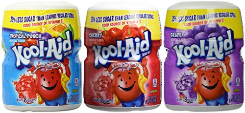 - Kool-Aid Drink Mix Variety Pack, Tropical Punch, Cherry and Grape, 19-Ounce (Pack of 3 Containers)