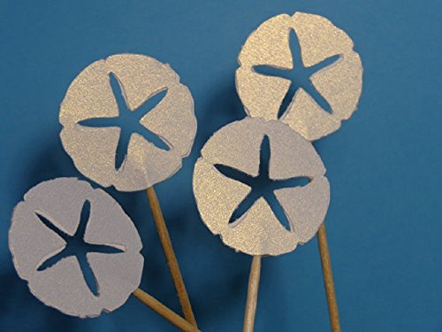 White Shimmer Sand Dollar Cupcake Toppers - Party Picks - Sand Dollar Nautical Food Picks (Set of 24) (Sand Dollar Paper Punch)