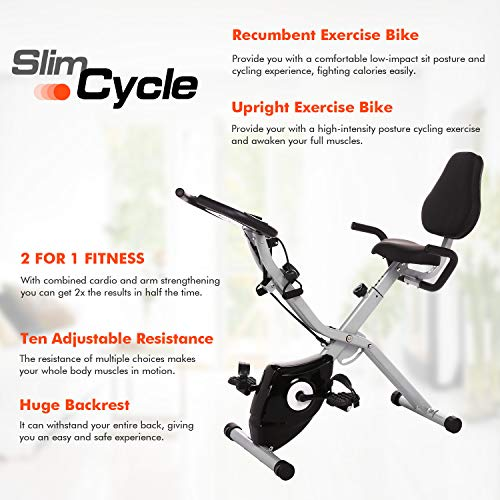 ANCHEER 2 in1 Folding Exercise Bike, Slim Cycle Indoor Stationary Bike with 10-Level Adjustable Magnetic Resistance and Arm Training Bands (Black) by ANCHEER (Image #1)