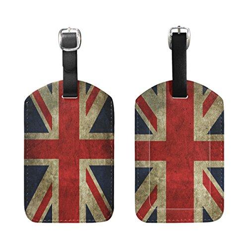 Vintage Union Label (Set of 2 Vintage Union Jack British Flag Luggage Tags Travel Suitcase Labels ID Tags)