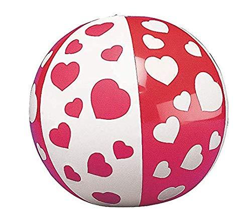 HAPPY DEALS ~ 24 Valentine's Day Heart Mini Beach Balls - Bulk Class Pack of 2 Dozen Heart Print ()