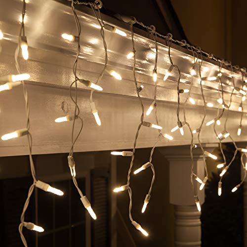 70 M5 LED Warm White Icicle Lights, 7 on White Wire, Warm White Christmas Lights Outdoor Wedding Lights Party Home Bedroom Icicle Lights LED (M5 Lights, Warm White)