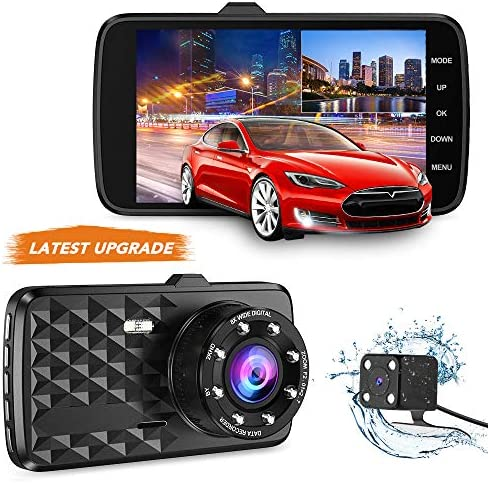 Dash Cam Front and Rear SSONTONG Dual Dash Camera for Cars Full HD 1080P Car DVR 4 Inch IPS Screen 170 Wide Angle Driving Recorder Loop Recording Parking Mode and Motion Detection Night Vision