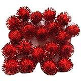 YYCRAFT 200pcs Glitter Tinsel Pom Poms Sparkle Balls Red(20mm)