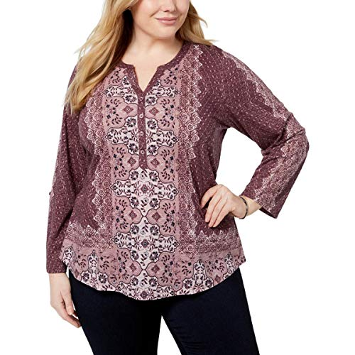 (Style & Co. Womens Plus Printed Long Sleeves Henley Top Purple 2X)