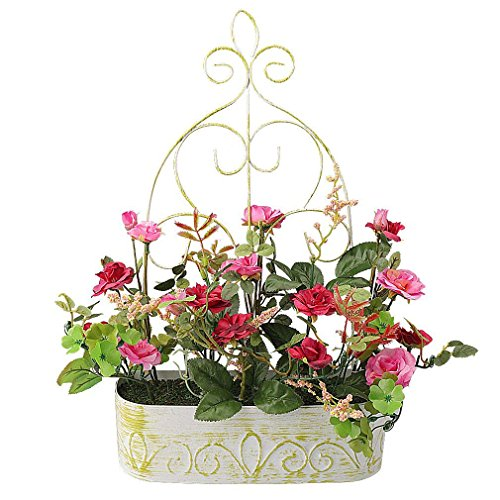 RERXN Europern Pastrol Artificial Flower in Iron Basket Silk Rose with Hanging Rack Indoor Outdoor Home Wedding Decor (Iron Flower Basket)
