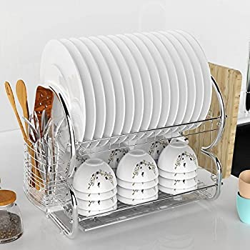 Amazon Com Deluxe 2 Tier Chrome Plated Dish Drying Rack
