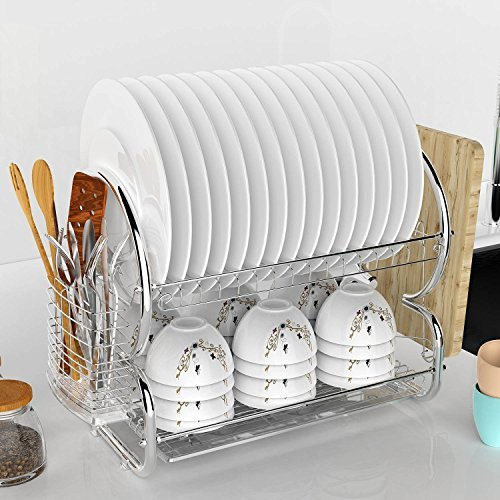 2-Tier Dish Drying Rack, stainless steel Kitchen Sinkware Dish Rack Kitchen Supplies Drying Frame-Quick Dry with Drip Tray with Drainboard / Cutlery Holder for Kitchen Home