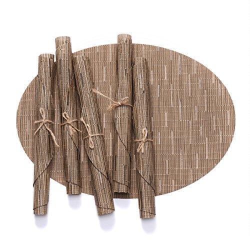 D-home Oblong Placemats Set of 6 Durable Textilene Woven Vinyl for Kitchen Dining Table Washable Heat-resistant PVC Table Mats, (Sandy Beige)