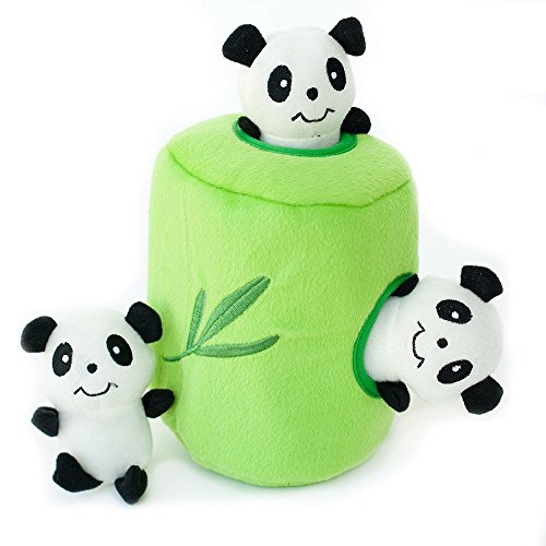 ZippyPaws Zoo Friends Burrow, Interactive Squeaky Hide and Seek Plush Dog Toy - Panda 'n (Bamboo Dog Plush Toy)