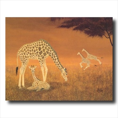 Amazon.com: African Giraffe Family Animal Wildlife Wall Picture ...