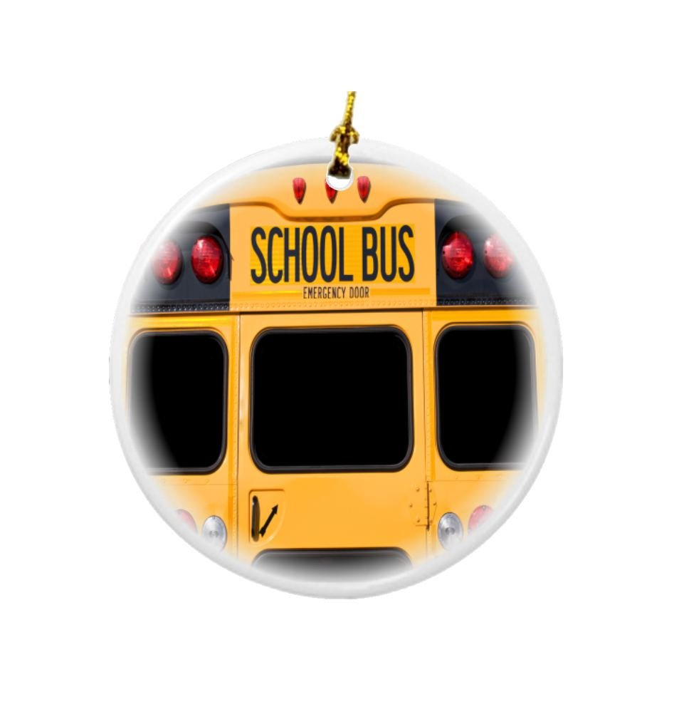 Rikki Knight Back of a Yellow School Bus Design Round Porcelain Two-Sided Christmas Ornaments